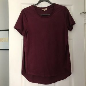 Burgundy faux suede T-shirt -love on a hanger